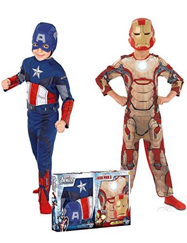Marvel 154716M–Kostüm für Kinder–Bi Pack–Avengers Captain America + IRON MAN–Größe M