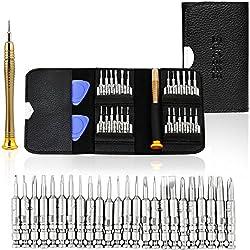 SYCEES Gehärtet Mini Schraubendreher Set 25-teilig Werkzeugset mit 2 Plektron für Uhren, Brillen, PC, Laptop, Handy wie iPhone 6 / 6s plus