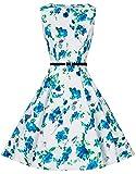 Zarlena Damen Vintage Rockabilly Audrey Hepburn Kleid Petticoat XL weiß/türkises Floralmuster DRAH-TRQ-XL