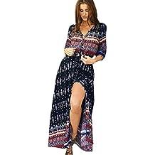 Vestido largo Amlaiworld Mujeres túnica de Bohemia Floral vestido de playa Long Maxi Sundress