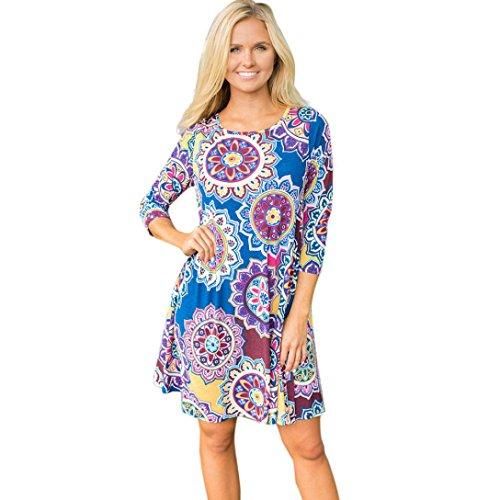Damen Kleider Xinan 3/4 Ärmel Geometrische Vintage Print Lose Sommerkleid Vintage Tunikakleid Bluse (XXL, Blau)