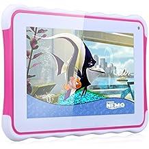 Excelvan 711 - Tablet Infantil de 7 Pulgadas Android 4.4.4 para Niños (Rockchip3126 Quad Core 1.3Ghz, 512MB RAM, 8GB ROM, Dual Cámaras, Modo Adulto y Modo Infantil, WIFI Bluetooth), Rojo