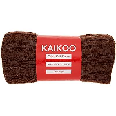 Kaikoo Anna Super Light Knit Throw, Chocolate_P