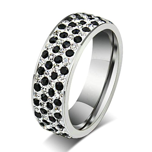 Daesar Edelstahl Ring Silber Schwarz Strass Ring Damen Eheringe Ewigkeit Ring S Größe:62 (19.7)