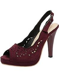 UH - Zapatos con tacón Mujer , color negro, talla 34 EU