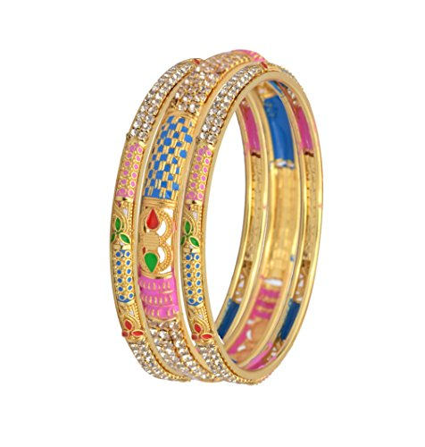 Sitashi 18 K Gold Alloy Plated Fashion Jewellery Bangles Set Combo of 2 Set For Girls and Women