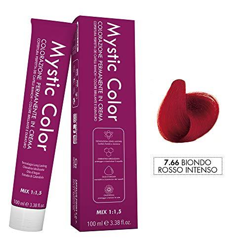 Mystic Color - Biondo Rosso Intenso 7.66 - Colorazione Professionale Permanente in Crema con Olio di Argan e Calendula - Tinta per Capelli Long Lasting - 100ml