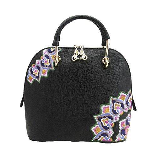 Gestickte Handtaschenschalenbeutel-Schulterbeutel Kurierbeutelart Und Weisehandtaschen Wilde Persönlichkeit Black