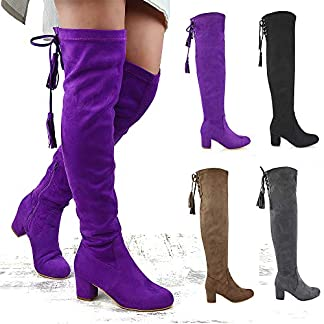 Womens Over The Knee High Stretch Leg Ladies Block Heel Lace Up Long Shoes Size 3-8