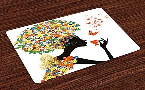 Soefipok Floral Tischsets, Frau Silhouette Hot Tea Cup Schmetterlinge Flügel Gänseblümchen Mohn Hibiskus Frisur, waschbare Stoff Tischsets Esszimmer Küchentisch Dekor , 4er ()