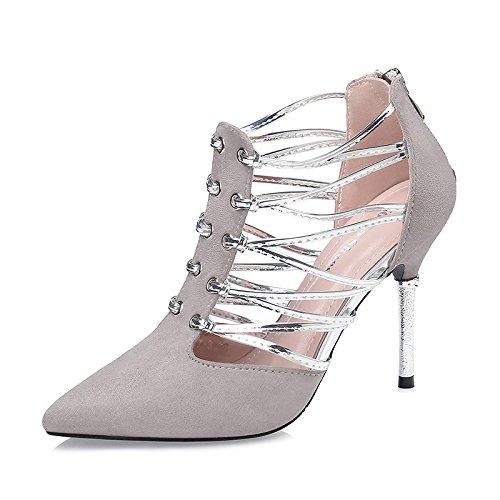 FLYRCX Stile Europeo personalità creative eleganti tacchi alti sexy aiutano a fine chiusura lampo di tacco Scarpe di partito B