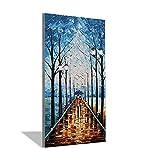 JKYH ART Pittura A Olio Disegnata A Mano del Salone della Sala da Pranzo della Pittura A Olio del Coltello di Pittura di Paesaggio di Rettangolo Verticale Blu