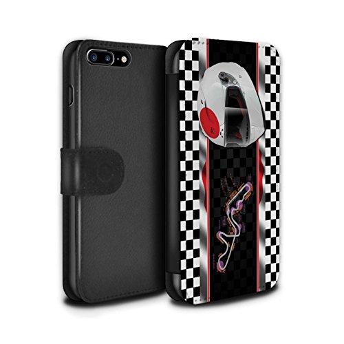Stuff4 Coque/Etui/Housse Cuir PU Case/Cover pour Apple iPhone 7 Plus / Russie/Sochi Design / F1 Piste Drapeau Collection Japon/Suzuka