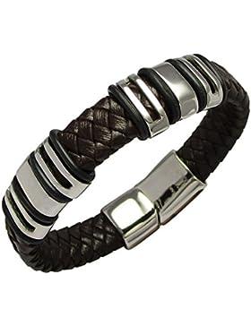 Kikuchi Damen Jungen Männer Edelstahl Armband 6 Beads Lederarmband dunkelbraun 18cm AM15104