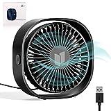 RATEL USB Ventilatore da Scrivania, 4.84In Mini Ventilatore da Tavolo USA con Cavo da 3.94ft, Portatile e Personale per casa e Ufficio Silenzioso e Potente, Ti Fa Raffreddare in Estate Calda, Nero