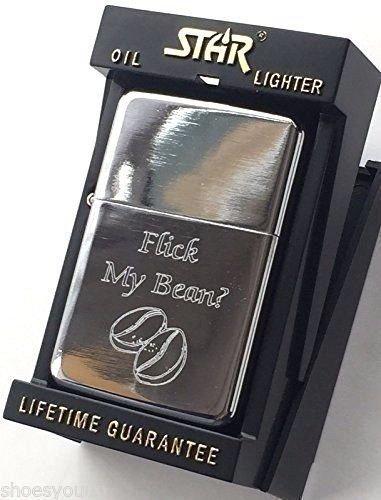 FLICK MY Bohne Benzin Silber Stern Anzünder (T1) + 59mm knopf-abzeichen