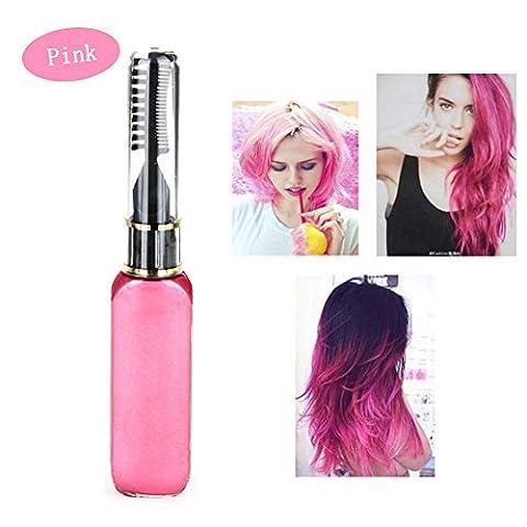 Haarkreide - Greencolourful Mode Langlebige Einweg Haar Farben Creme Haare Färben Kreide Haartönungen mit Kämme, Rosa