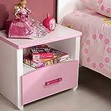 Nachtkommode weiß rosa Mädchen Nachttisch Nachtkonsole Nachtkästchen Nako Abladetisch Kinderzimmer Jugendzimmerkommode Nachtschrank