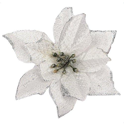 Gosear 20 pz natale glitter artificiale fiori ornamenti decorazioni per natale albero corone partito matrimonio argento