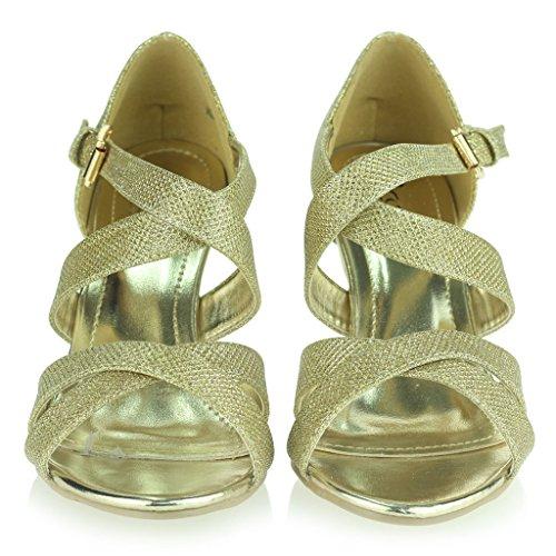 Femmes Dames Miroiter Lanières Talon Haut Plate-Forme Soirée Mariage Bal de Promo Sandale Chaussures Taille Or