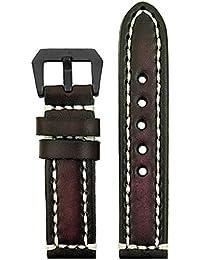 StrapsCo correa de piel Vintage de grosor banda con alta resistencia costuras y de color negro