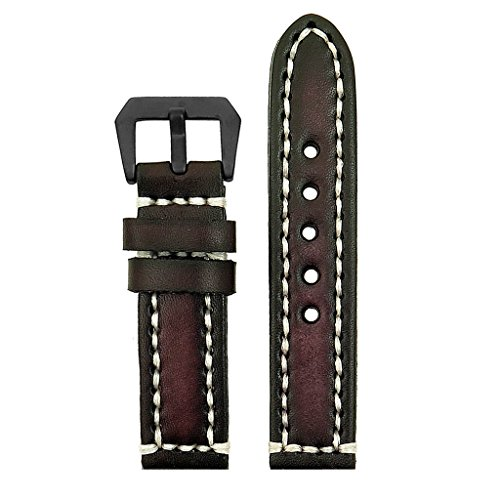 strapsco-20-mm-Vintage-Dick-Leder-Watch-Band-in-Dunkelbraun-mit-Heavy-Duty-wei-Nhte-und-matt-schwarz-Pre-V-Schnalle