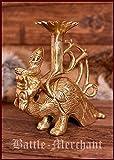 Massiver Mittelalterlicher Kerzenständer Drache aus Messing, Drachenlampe Kerzenhalter aus Stahl Kerzenständer Mittelalter Wikinger LARP