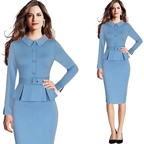 Peplum Kleid (Damen Kleid,DOLDOA O-Ausschnitt Frill Peplum 3/4 arm Tunikakleid Bleistiftkleid Knielang Kleid (EU:38, Blau,Langarm Bleistiftkleid))