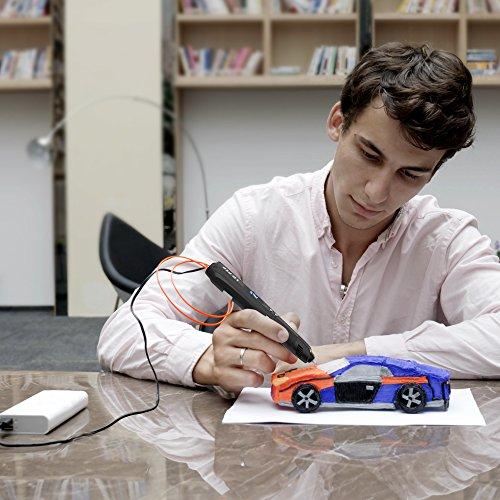 3D Stift, Tecboss 3D Drucker Stift für Kinder mit LED-Anzeige, USB-Netzteil und 3 Bonus 1,75 mm PLA Filament Refills-Schwarz - 5