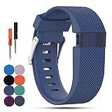 Fitbit Aktivitätstracker Charge HR Ersatz Armband, iFeeker Classic Soft Silikon Metall Schließe Uhr Gürtelschnalle Handgelenk Armbanduhr Band Halter Fall Tasche für Fitbit Aktivitätstracker Charge HR (Klein oder Groß)