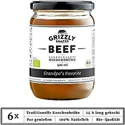 Bio-Knochenbrühe aus Deutschland | Bio | Rinderbrühe | Set: 6x500ml | Collagen | Protein | Angebot | Brühenkur