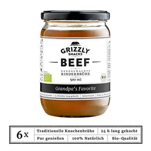 Grizzly Snacks Biologische Rinderbrühe aus Deutschland (6x500ml) 24h lang gekocht Wertvolle Nährwerte Bone Broth Knochenbrühe Grandpa's Favorite