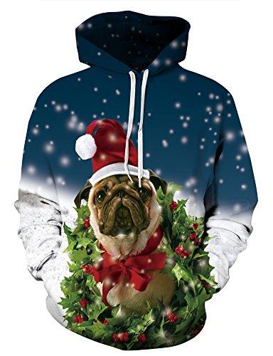 KamiraCoco Unisex 3D Digital Druck Bunte Kapuzenpullover Hoodie Langarm Damen Und Herren Cartoon Weihnachten Halloween Sweatshirt Pullover (XXL / 3XL (Brustumfang: 122-142CM), Happy Weihnachten)