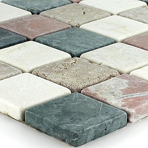 Naturstein Marmor Mosaik Fliese Cotto Beige Grün Noce