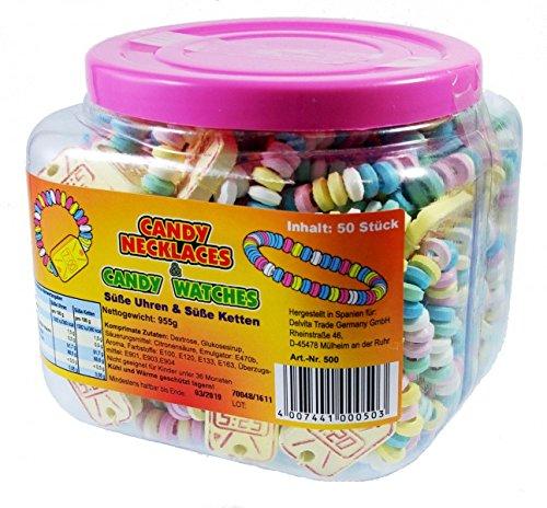 Preisvergleich Produktbild Candy Necklaces Süße Hals-Ketten und Armband-Uhren 50 Stück