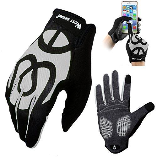 West Biking Fahrradhandschuhe für Damen Herren Frauen Manner, Winddicht Silikon Touchscreen Vollfinger Warme Winter Handschuh für Smartphone Mountainbike Rennrad Reiten