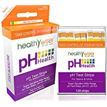 Tiras medidoras del pH, 120 unidades + BONUS, diagrama de alimentos alcalinos en PDF + eBook con 21 recetas de dieta alcalina para equilibrar el pH. Resultados rápidos y precisos en 15 segundos, compruebe su grado de acidez y alcalinidad usando la saliva y la orina