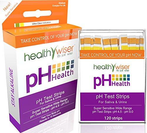 """pH-Teststreifen 120 Stück + BONI - basische Lebensmitteltabelle als PDF + E-Book """"21 basische Rezepte"""" - für einen ausgeglichenen pH-Wert und schnelle und genaue Ergebnisse in 15 Sekunden. Checken Sie Ihren Säure-Basen-Haushalt über den Speichel oder den Urin. (Wasser-säure-test)"""