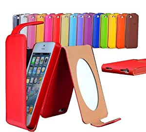 NEW IPHONE 5 / 5S / SE PREMIUM PU LEATHER FOLIO & WALLET FLIP WITH CARD HOLDER CASE / COVER / POUCH / HOLSTER WITH SET OF FRONT & BACK SCREEN PROTECTORS BY CarapaceTM (FLIP CASE, RED)
