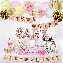 Decoraciones de baby shower para niña Rosa Bandera, Momia para ser marco, Globos de