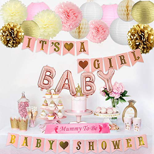 JOYMEMO Decorazioni Baby Shower per Ragazza in Oro Rosa con It's a Girl Banner Rosa, Mummy To Be Sash, Lettera Foil Balloons e Decorazioni in Carta velina