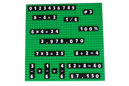 Strictly Briks MathBriks - Stapelbare Bauplatte & 100 Zahlen- und Mathe-Plättchen mit 2 x 2 Noppen zum Lernen & Spielen - kompatibel mit Allen führenden Marken - Grüne Bauplatte 25,4 x 25,4 cm