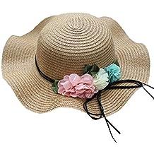 Sensail Chapeau de Paille, Enfants Bébé Bonnet Chapeau de Soleil Fleurs ... 96567618b7d