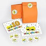 12 Einladungskarten zum 10. Geburtstag lustige Party-Bälle incl. 12 Umschläge, 12 Tüten, 12 Aufkleber / für Mädchen und Jungen