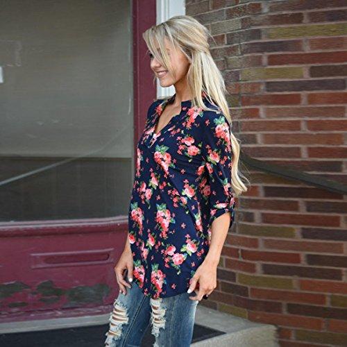 Amlaiworld Damen Floral bedruckten lässig lockeren T-Shirt Tops Bluse Marine