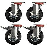 Speed 4unidades 75mm Transporte ruedas ruedas ruedas cargas pesadas M/O freno plata/negro capacidad de carga 50kg por rollo