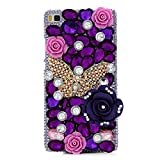 Kitchen & Housewares : Spritech(TM) 3D Handmade Fashion Girl Woman Bling Luxury Coloured Diamond Design with Crystal Rhinestone?Beautiful Bling Rose Clear Hard Caver Case for Huawei Ascend P8