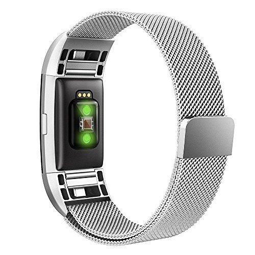 "Simpeak für Fitbit Charge 2 Armband Silber (5,25""-6,7""), Uhrenarmband Milanese Edelstahl Magnet Armbänder für Fitbit Charge2 Band"