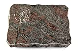 MEMORUM Grabmale Grabplatte, Grabstein, Grabkissen, Urnengrabstein, Liegegrabstein Modell Pure 40 x 30 x 5 cm Paradiso-Granit, Poliert inkl. Gravur (Sandstrahl-Ornament Papillon)