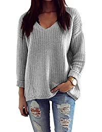 4409782c4e2d Mikos Damen Pullover Winter Casual Long Sleeve Loose Strick Pullover Sweater  Top Outwear (627)  Hergestellt in…